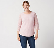 Isaac Mizrahi Live! Floral Lace Knit Top with Ladder Lace Details - A351084