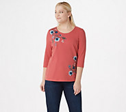 Denim & Co. French Terry 3/4-Sleeve Top with Embroidery - A351584