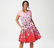 Isaac Mizrahi Live! Floral Engineered Print Fit & Flare Dress - A352284