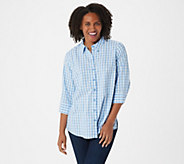 Joan Rivers Perfect Gingham Shirt with 3/4-Sleeves - A352384