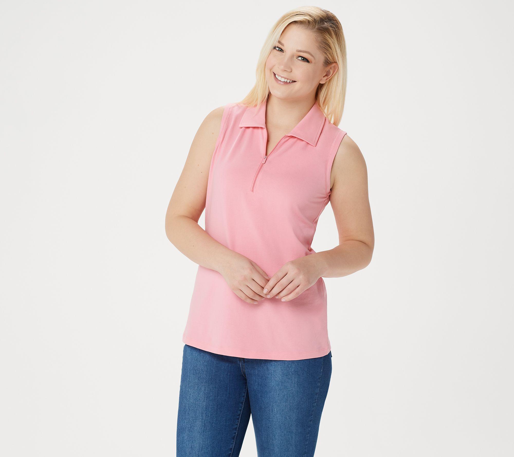 Denim & Co. Active Sleeveless Half-Zip Polo Collar Top