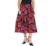As Is Joan Rivers Petite Length Midnight Garden Midi Skirt - A368484