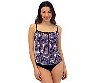Fit 4 U Tummy Piped Cami Swim Top with Zipper - A425884