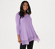 LOGO by Lori Goldstein 3/4 Sleeve Knit Top with Chiffon Hem - A275785