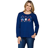 Quacker Factory Summer Getaway Long Sleeve Hi-Low Hem Knit T-shirt - A289685