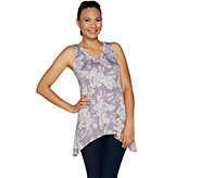 LOGO Layers by Lori Goldstein Printed V-Neck Knit Tank - A290485