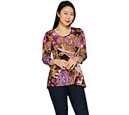 Susan Graver Printed Liquid Knit Top with Peplum Back - A297685