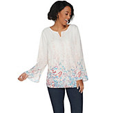 Belle by Kim Gravel Floral Print Pintuck Blouse - A301585
