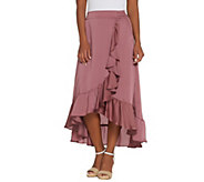 Lisa Rinna Collection Pull-On Faux Wrap Skirt with Ruffles - A305085