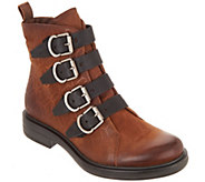 Miz Mooz Leather Buckle Ankle Boots - Crescent - A342085