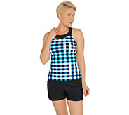 Isaac Mizrahi Live! Checked Out U-Neck Tankini with Shorts - A351285