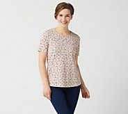 Denim & Co. Printed Jersey Round-Neck Short-Sleeve Top - A351585