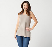 Lisa Rinna Collection Sleeveless Tank with Side Slits - A353285