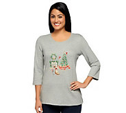 Quacker Factory All is Bright Holiday Bling 3/4 Sleeve T-shirt - A237786