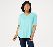 Denim & Co. Essentials Elbow Sleeve Top with Seaming Detail - A278986