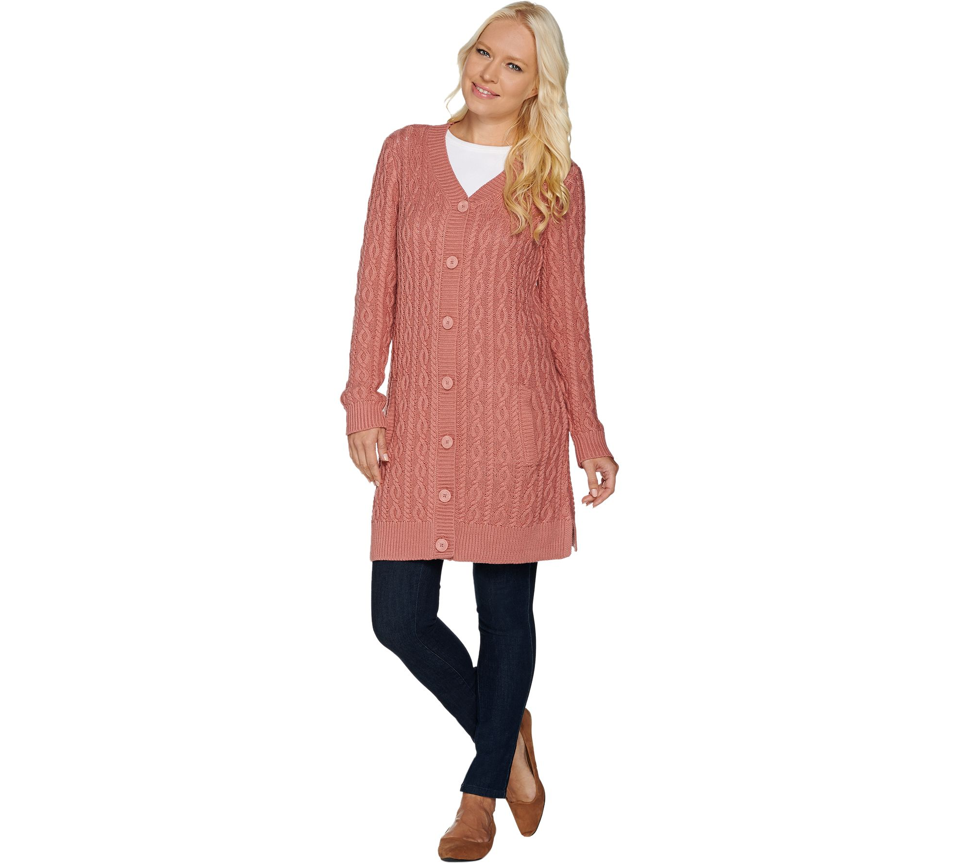 17461e319ebbaf Button Front Cable Knit Tunic Cardigan with Pockets - Page 1 — QVC.com