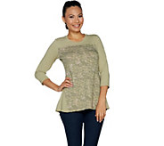 LOGO Lounge by Lori Goldstein French Terry Top with Print and Godets - A286986