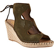 Franco Sarto Perforated Suede Espadrille Wedges - Nash - A290986