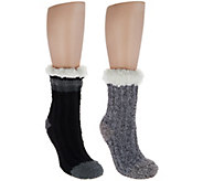 Cuddl Duds Sherpa Lined Cabin Socks Set of 2 - A294986