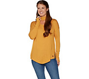 Peace Love World Banded Neck Sweater with Affirmation Dtl - A297786