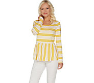 Du Jour Stripe Printed Long Sleeve Knit Peplum Top - A303286