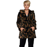 As Is Isaac Mizrahi Live! SOHO Camo Faux Fur Hooded Coat - A308186