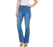 Isaac Mizrahi Live! Regular Knit Denim Pull-On Boot-Cut Jeans - A311586