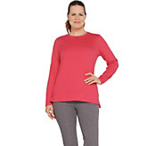 Denim & Co. Lux Jersey Long-Sleeve Crew-Neck Top with Hi-Low Hem - A346286