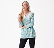 Susan Graver Printed Sweater Knit Top with Lace Trim - A347086