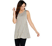 LOGO Layers by Lori Goldstein Striped Tank with Flounce at Hemline - A347186