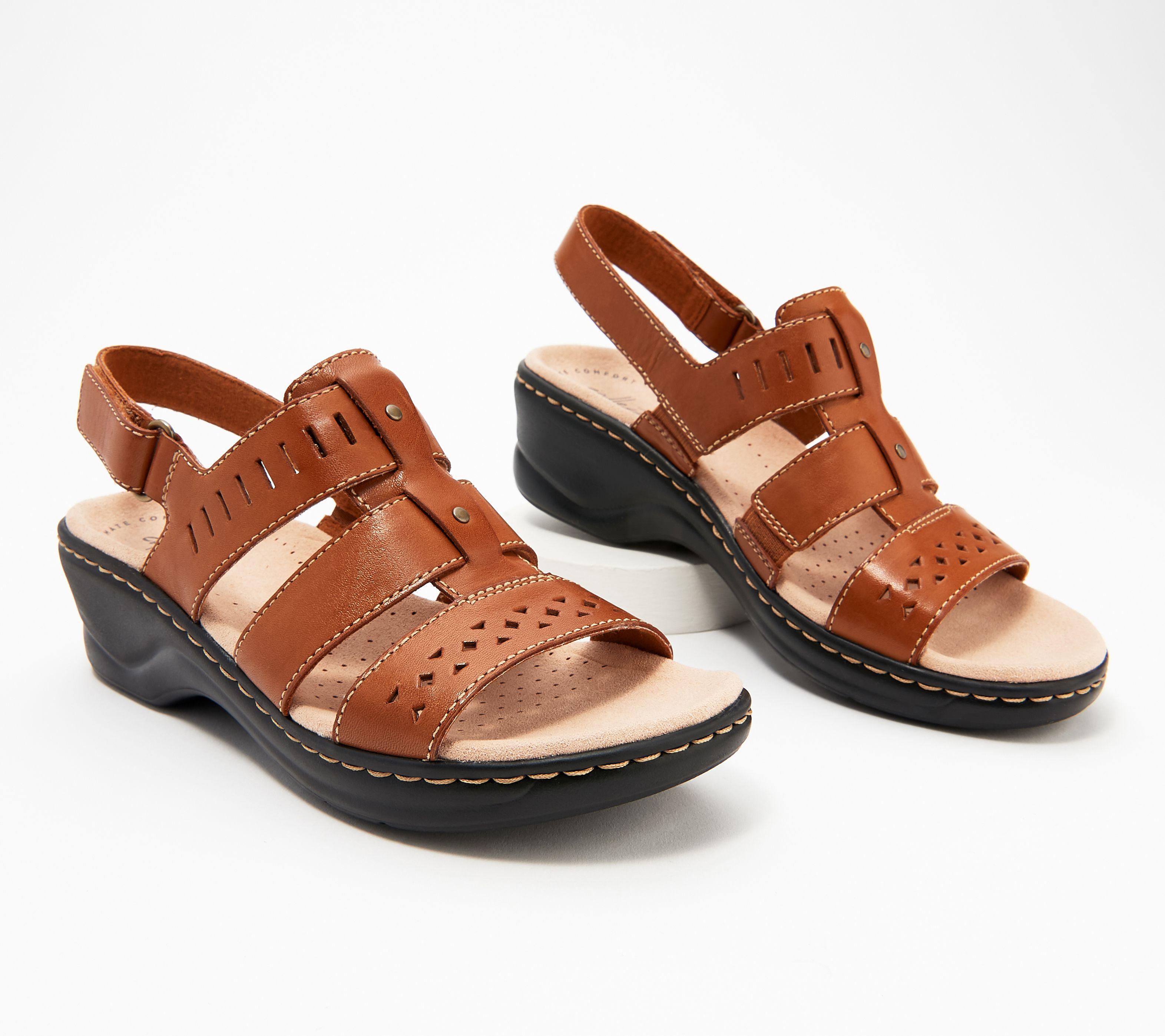 e323d20c8a2 Clarks Collection Leather Cut-Out Sandals - Lexi Qwin — QVC.com