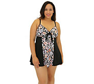 Fit 4 Ur Thighs  Wallflower Blocked Tie Front Dress - Plus - A364786