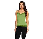 Susan Graver Essentials Liquid Knit Lace Trimmed Camisole - A93186