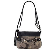 As Is B.Makow sky Camouflage Leather Zip Top Crossbody bag - A219587