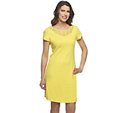 Liz Claiborne New York Regular Knit Dress with Lace Detail - A253987