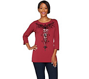 Bob Mackies 3/4 Sleeve Sequin Front Jersey Knit Top - A268387