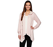 LOGO Lounge by Lori Goldstein French Terry Cardigan with Waffle & Lace - A273387
