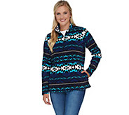 Denim & Co. Long Sleeve Printed Half Zip Pullover Fleece Top - A283487