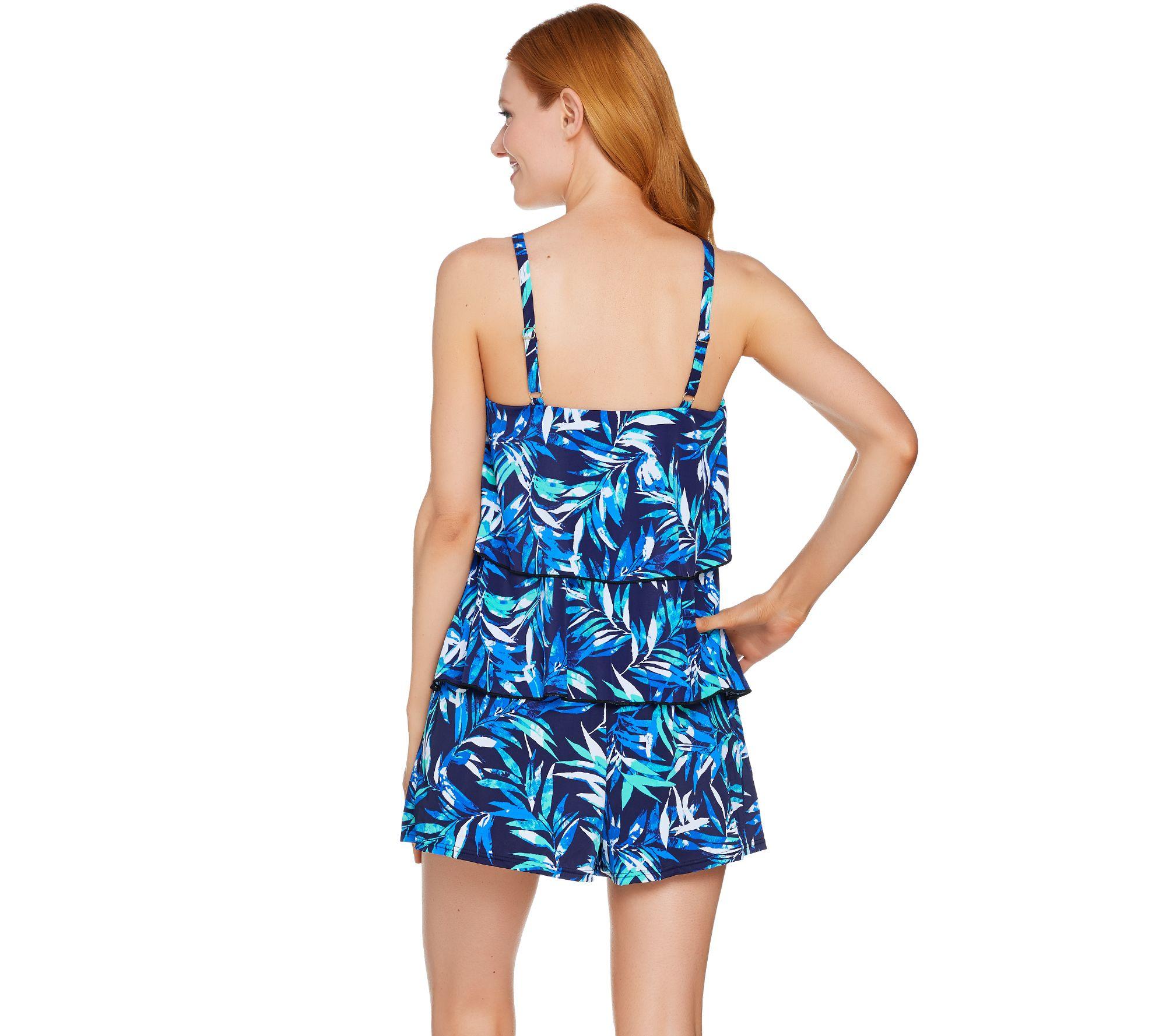 2b8428fc81c2 Fit 4 U Hi-Neck Double Tiered Romper Swimsuit - Page 1 — QVC.com