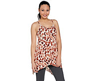 LOGO Layers by Lori Goldstein Print Camisole w/ Handkerchief Hi-Low Hem - A288887