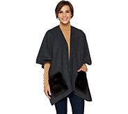 Joan Rivers Polar Fleece Ruana with Faux Fur Pockets - A296087