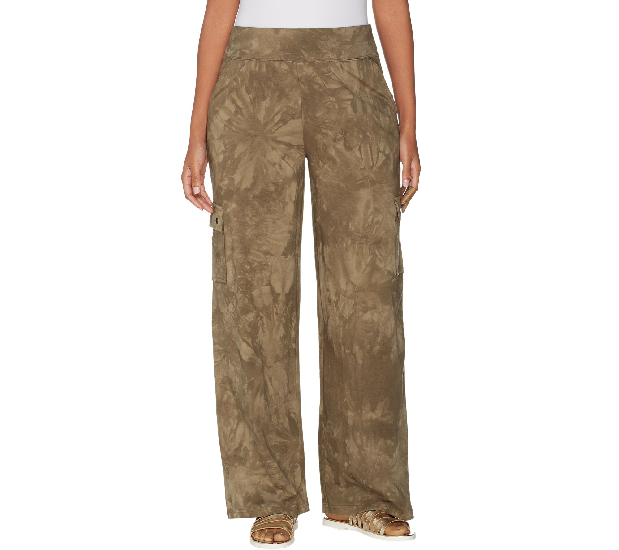 713234f4fc Belle By Kim Gravel TripleLuxe Knit Wide Leg Cargo Pant — QVC.com