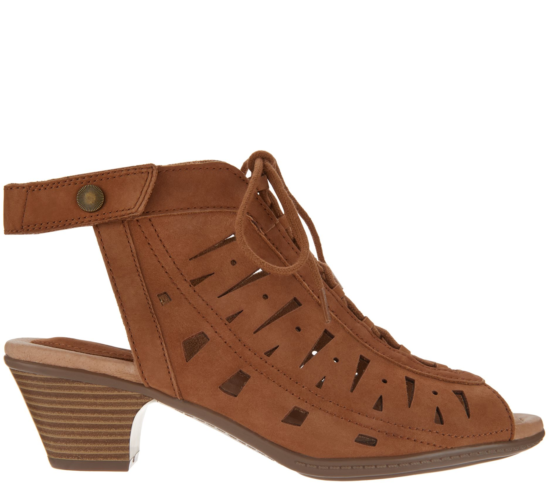 cc4e70cee693 Earth Nubuck Leather Lace-Up Sandals - Kristen - Page 1 — QVC.com
