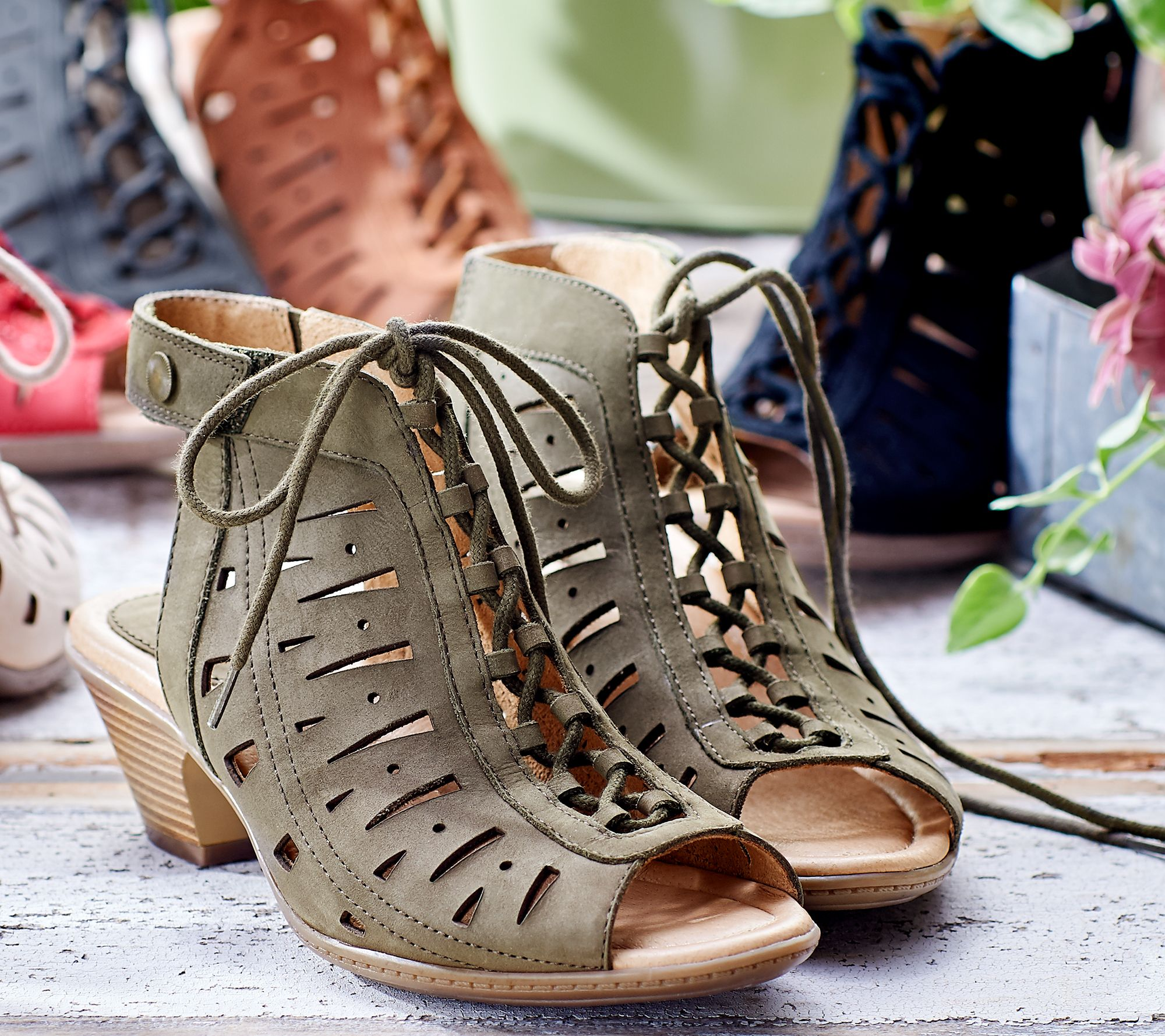611274b088ac Earth Nubuck Leather Lace-Up Sandals - Kristen - Page 1 — QVC.com