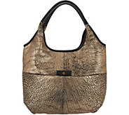 As Is orYANY Metallic Lamb Leather Tote Handbag - April - A306387