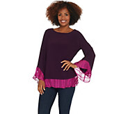 Susan Graver Textured Liquid Knit Top with Printed Woven Combo - A310087