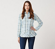 Joan Rivers Button Front Plaid Shirt with Bias Hem - A347287