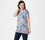 LOGO by Lori Goldstein Printed Knit Top with Contrast Print - A350587