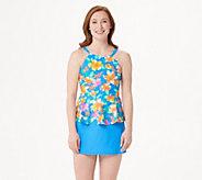 Isaac Mizrahi Live! Floral Peplum Tankini with Skirt - A351287