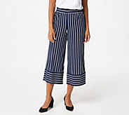 Studio by Denim & Co. Striped Jersey Cropped Wide Leg Pants - A351587